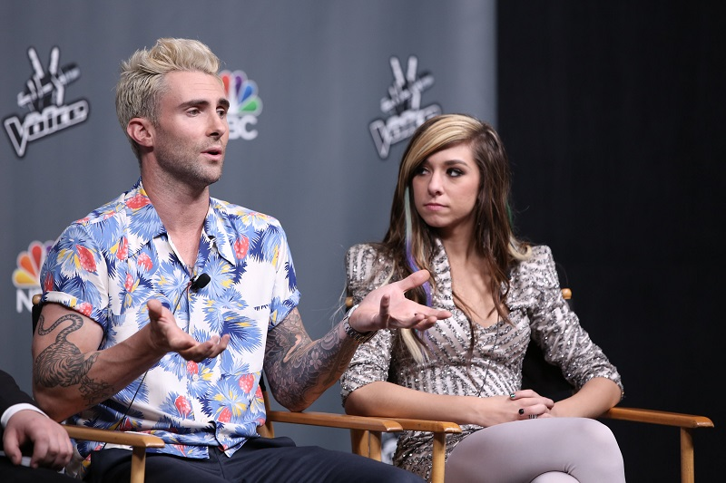 Adam Levine Christina Grimmie formaram parceria no 'The Voice'