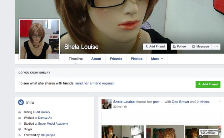 O perfil no Facebook de Shela Louise