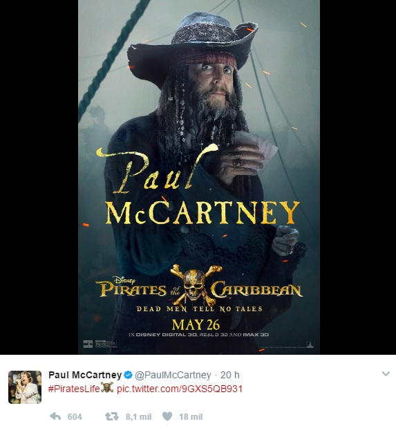 Paul McCartney está no elenco de  'Piratas do Caribe: A Vingança de Salazar'