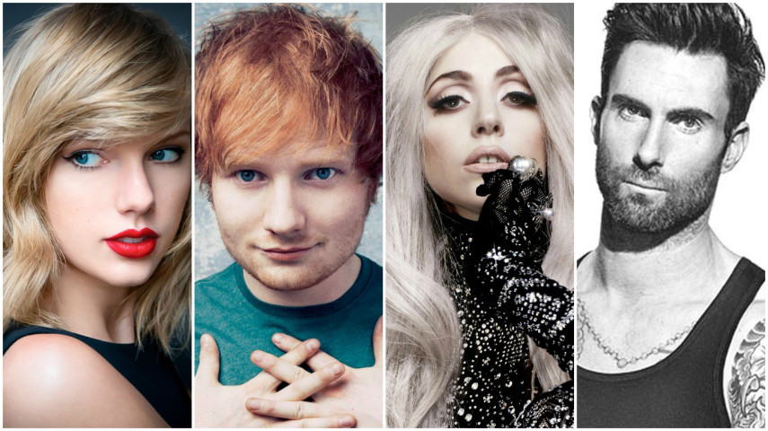 Taylor Swift, Ed Sheeran, Lady Gaga e Adam Levine