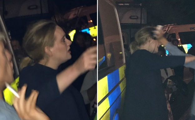 Adele no local do incêndio