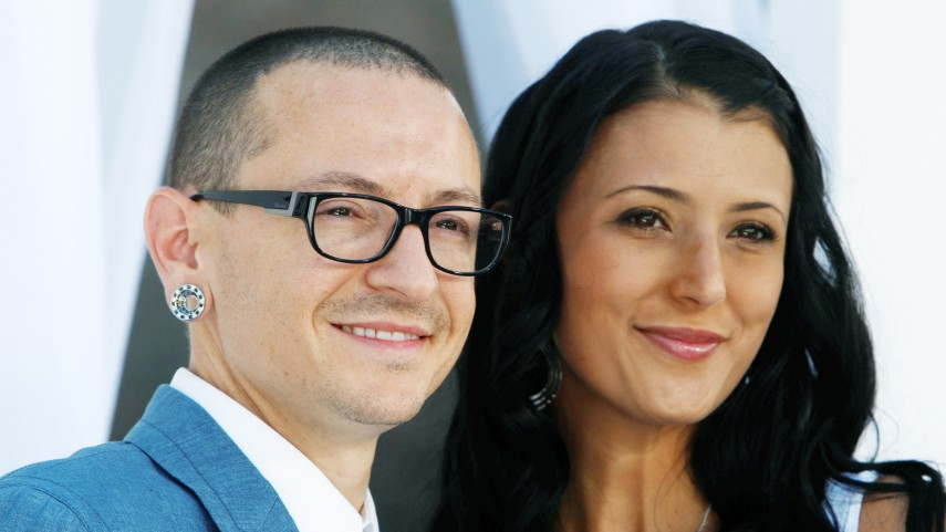 Image: FILE PHOTO: Chester Bennington of Linkin Park and wife Talinda arrive at the 2012 Billboard Music Awards in Las Vegas